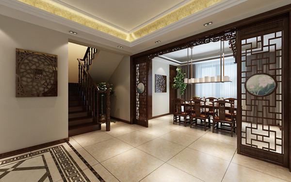 镂空的木质隔断与木质的餐桌椅相搭配,再用墙上花隔点缀,营造出一种庄重典雅的就餐氛围。