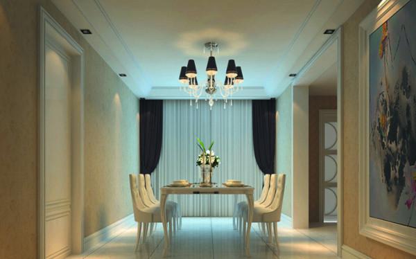 设计理念:餐厅的灯光很重要既不能太强又不能太弱,顶部做了简单的吊顶。隔断以米黄色为主色调,在灯光的映衬下,温馨暖和的浅橙色让人胃口大开