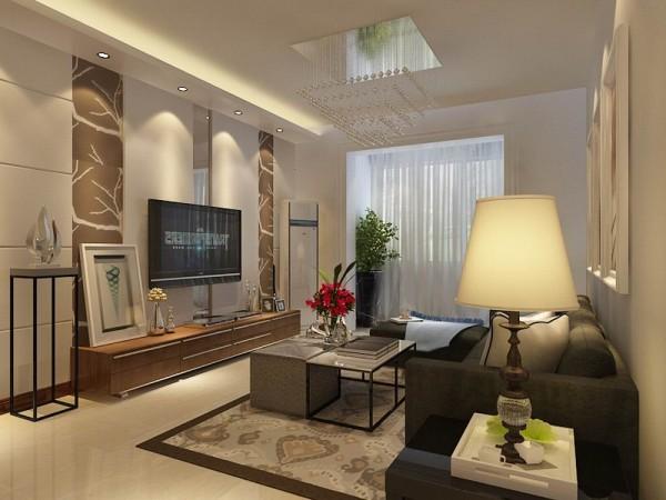 墙面大面积刷白色乳胶漆即不显过度奢华,又不乏低调时尚。客厅电视背景墙采用石膏板拉缝做造型,中间贴壁纸和烤漆玻璃。