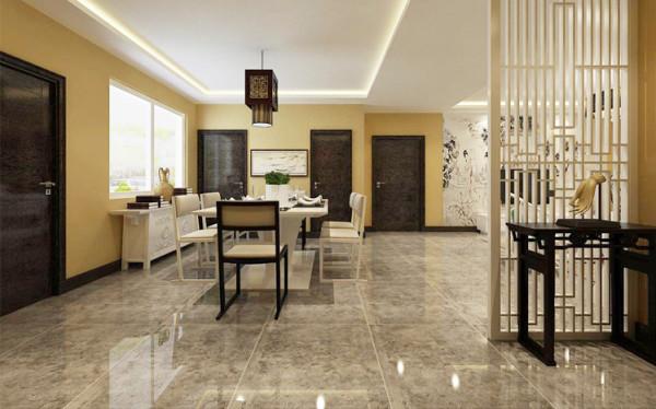 现代感中式餐桌椅搭配白色案台式餐边柜,提升品位。餐桌椅中古典深褐色与简约白色相搭配,室内光照充足,一边就餐可以一边欣赏外景。合理利用空间并营造出惬意安静的就餐环境。