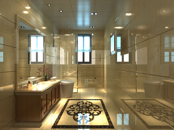 主卫墙面、地面、顶棚及家具陈列均以简洁的造型纯洁的质地精细的工艺为其特征