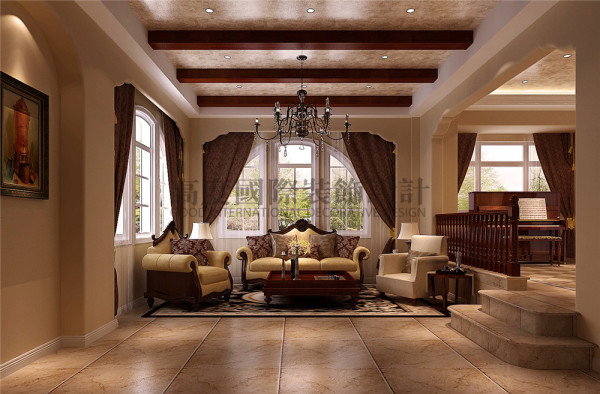 客厅 托斯卡纳风格 混搭风格 收房装修 成都高度国际 别墅装修