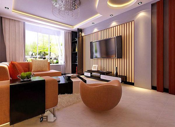 设计理念:客厅的电视背景墙散发出的是淡雅清新的现代时尚感。布艺的现代沙发与黑色的茶几相呼应,让整个客厅营造出时尚、高贵、轻松、愉悦的氛围。营造出一个朴实的家居生活。