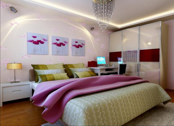设计理念:它基本上基于以壁纸为主通过装饰画、结合壁纸搭配的做法。这种风格强调比例和色彩的和谐搭配。亮点:整个风格显得优雅温馨。