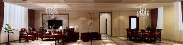 金碧辉煌的现代中式客厅吊顶与整体颜色搭配得当,让人犹如置身皇宫一