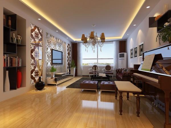 整个空间用流线型的造型设计,顶上采用部分吊顶增加整体进深感。材质上选择现代感较强的镜子及皮质的沙发,两者材质对比很明显。