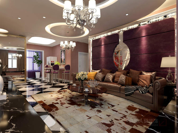 沙发背景以软与硬的搭配,及亮与暗的对比,电视墙与沙发墙也是表达了深浅关系,从而叫视觉上更有深度。
