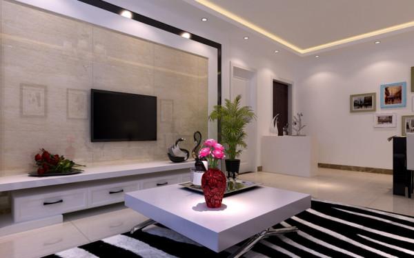 电视背景墙以黑色烤漆玻璃做衬托,结合仿石材砖和石膏造型做对称,体现了电视墙大气上档次。
