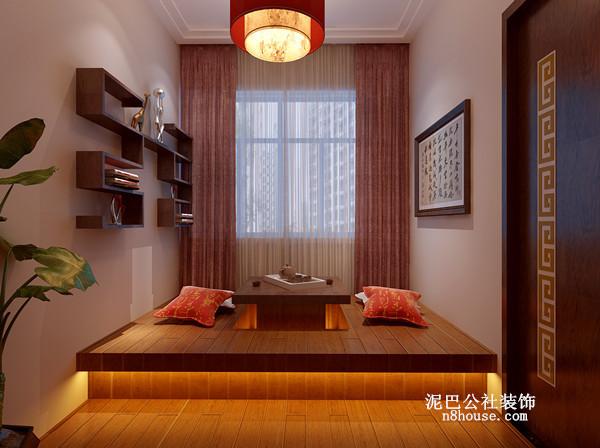 现代中式, 三居 书房 榻榻米 馨香 书房图片来自泥巴公社设计师叶龙在