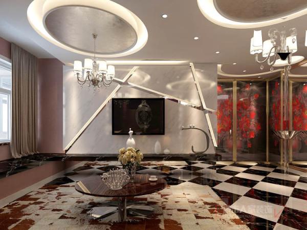 电视柜的设计采用石材与窗台台面互相结合的连贯性结合,以黑白银石材及电视墙的爵士白石材来表现出黑于白的对立及互补,离地40cm的距离考虑用到镜子,让视觉产生误以为电视墙后面是开阔空间感。