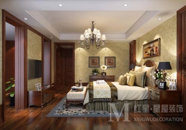 金沙西墅美式田园风格设计卧室