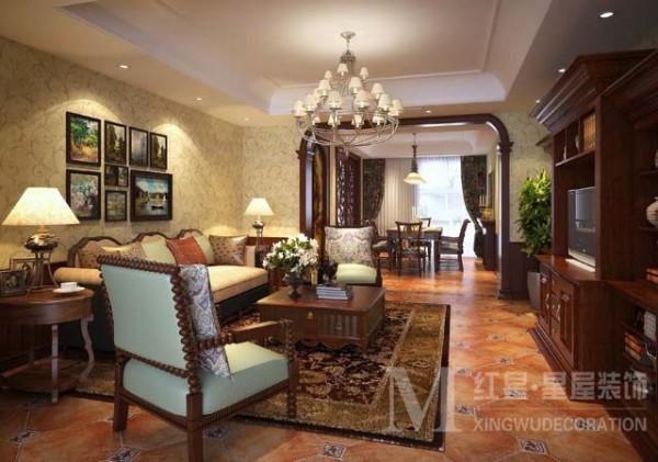 金沙西墅美式田园风格设计客厅