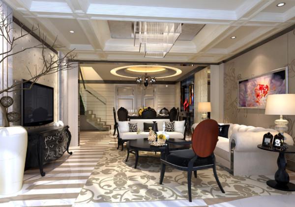 德馨苑混搭风格装修设计客厅