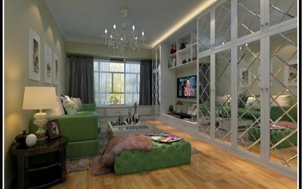 设计理念:客厅电视墙面用书柜及电视柜一体的形式来做,这样既能做到