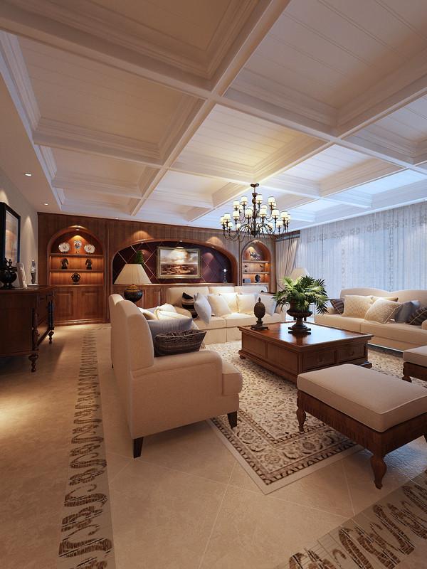 客厅沙发背景墙及展示架