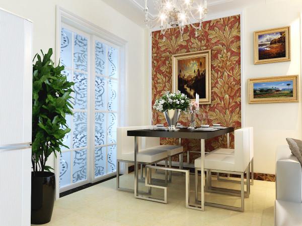 .餐厅的设计时干净利落、没有繁杂的设计,黑白色的桌椅,和几何造型的暖色调的背景墙,形成一种对比,时尚感极强。