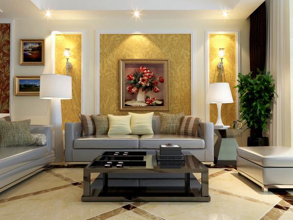 这个角度把电视背景墙和沙发背景墙的对比,地板没有使用地毯,而是把地板直接裸漏,运用暖色调的拼花,体现出现代的时尚感。