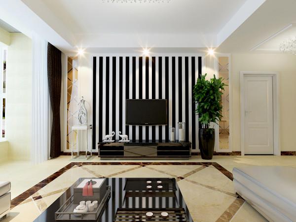 .现代简约设计不等于是简简单单的设计,而是把现代的设计理念很好的运用,使其设计相得益彰。电视背景墙采用的是大面积的黑白线条和小面积的茶镜,简单的设计就体现出现代的时尚气息。
