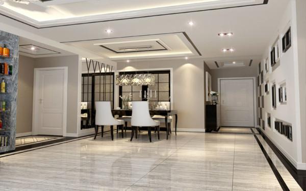 餐边的墙面采用了艺术镜子的设计,起到扩展空间和装饰的效果。餐桌选用黑色,与门和家具更协调,餐椅采用白色皮纹装饰,高调而奢华。灯罩采用欧式菱形玻璃拼贴,光线折射五彩斑斓,十分美好。