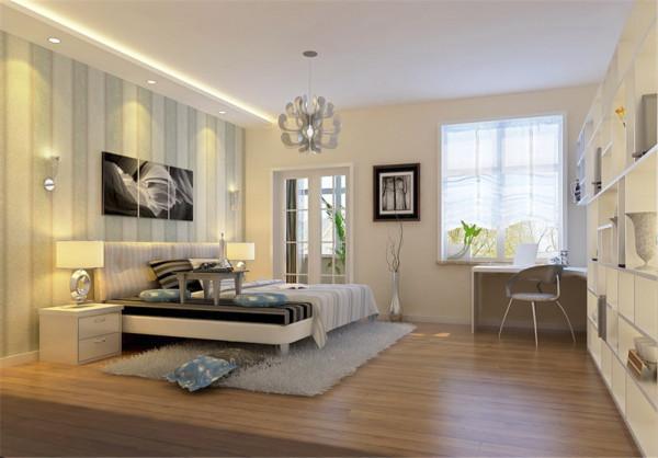 客厅选用了白色调的墙漆,暖色调的灯关来装饰墙面,在电视背景墙上用深浅不一的墙纸点缀电视背景墙,使整个空间看起来更有色彩层次感不单调而现代感更强。