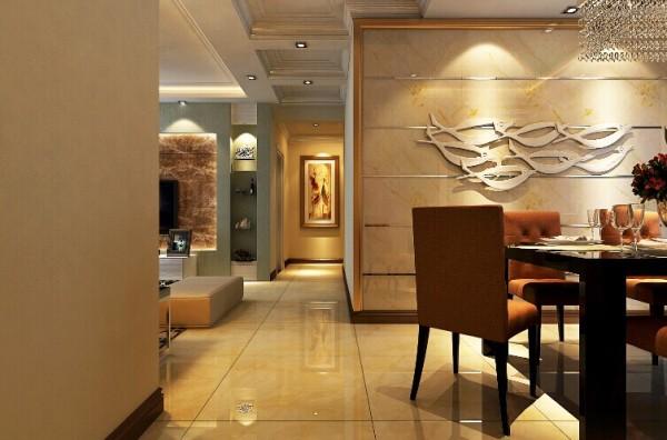 餐厅是一个单独的空间,方形的吊顶简约时尚。