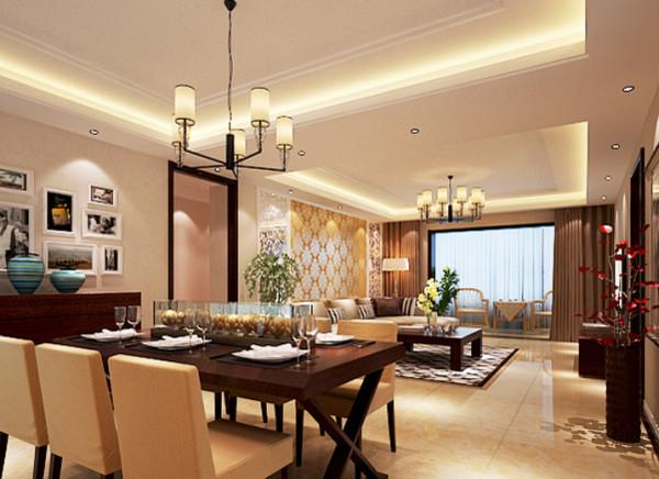 设计理念:整体颜色搭配和谐统一,而又温馨不失品位。搭配上时尚的照片墙和配饰品。完美的打造了一个温馨舒适的用餐空间。