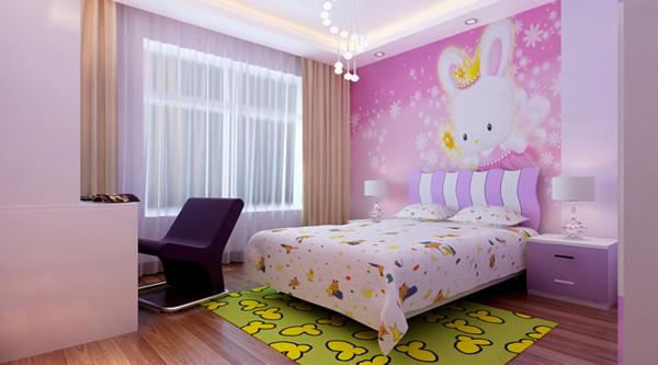 设计理念:可爱的粉色和神秘的紫色色调打造可爱的公主房。作为儿童房装饰不用太过于复杂,简单吊顶打造简约空间。