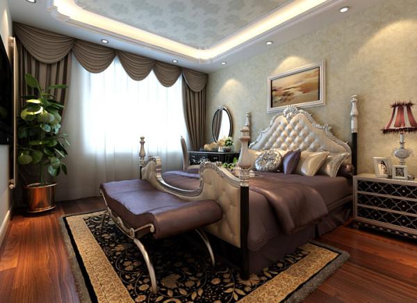 设计理念:卧室是主要的休息空间,色彩搭配舒适内心,放松身体,调节疲惫的神经,用风格独特的天棚与墙面造型突出房间整体的风格。