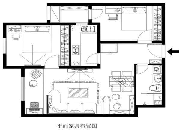 简约 现代 88平米 两居 双合家园 户型图图片来自北京实创大胖在双合