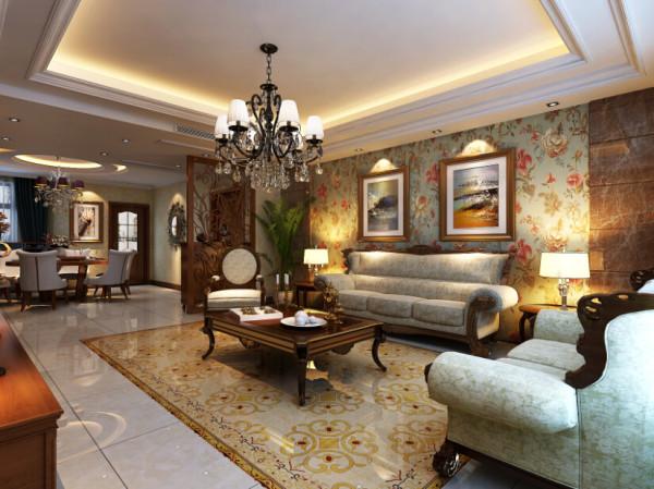 与电视背景墙呼应的石材配以碎花壁纸,从质感和色感上让平淡的墙面富有层次和韵味,灯带的反射营造出丰富的层次感,整体质感温馨,时尚。