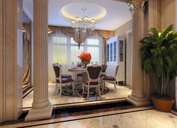 设计理念:欧式卷叶草图案的壁纸,白色的餐桌,墙面的银色镜面,在配上罗马柱,欧式的高贵奢华体现的淋漓尽致。