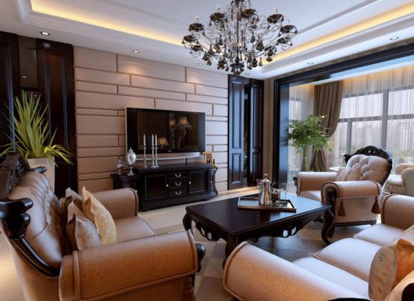 亮点:漂亮的地面拼花彰显主人高贵的品味 设计理念:电视背景墙是客厅的两点,需要特别的装饰。 亮点:大面积的软包,对称的造型体现了美观大气的氛围。