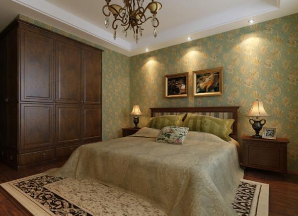 卧室墙面的壁纸采用蓝色背景,让休息空间感觉趋于柔和。而壁纸上装点得花朵则延续着美式乡村的独特魅力!吊顶的应用着重提升整体空间的深度,让卧室不会过于压抑。