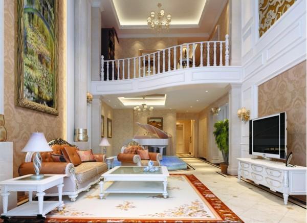 设计理念:豪华的罗马柱,繁复的线条,精致的装饰造型,浅色的家具,壁纸,油画,欧式元素的巧妙运用。