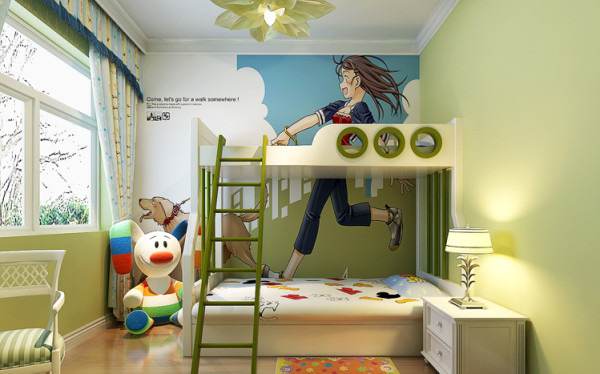 儿童房淡绿色墙漆,贴壁纸,童趣盎然。