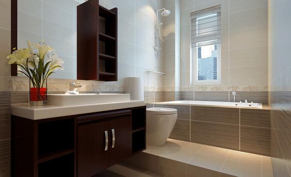 卫生间的重点设计在于干湿分区,在如厕区和洗浴区做成地台,重点增加实用性,用深浅麻布质感的瓷砖,增加层次感!