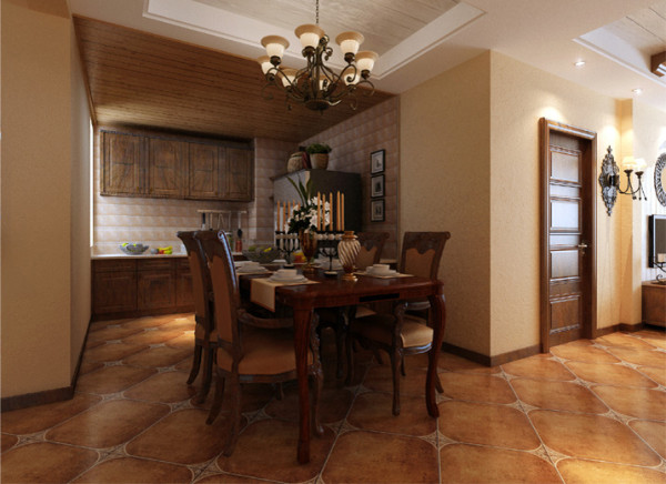 开放式厨房设计使得厨房空间更加宽敞。厨房的吊顶用美式乡村实木纹理打造,让厨房兼具实用性的同时展现出居住者的品味!吊灯光感趋于柔和,为用餐过程增添温馨体验。