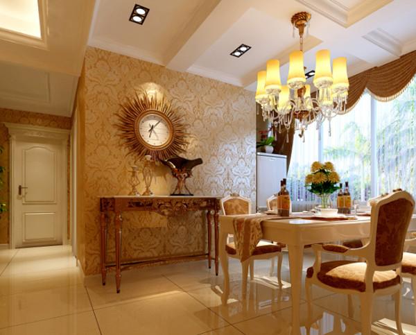 餐厅的设计上使用了方格形状的吊顶设计,突出了浓厚的欧式元素,大花纹的暖色壁纸,体现出了业主对生活的独特品位和体会,餐具使用了白色的实木家具,优雅的造型设计和清新的颜色,让人就餐时能够有个好心情。