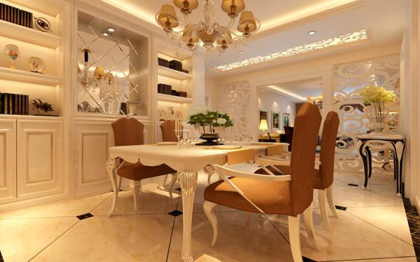 设计理念:餐厅的设计餐厅地面材质与客厅统一地面采用45度菱形斜铺加角花,增加地面的灵动性,看起来不会单调刻板。亮点:镂空雕花板巧妙的运用,把原本的餐厅与客厅做了一个功能分区,既通透又起到分区的作用。