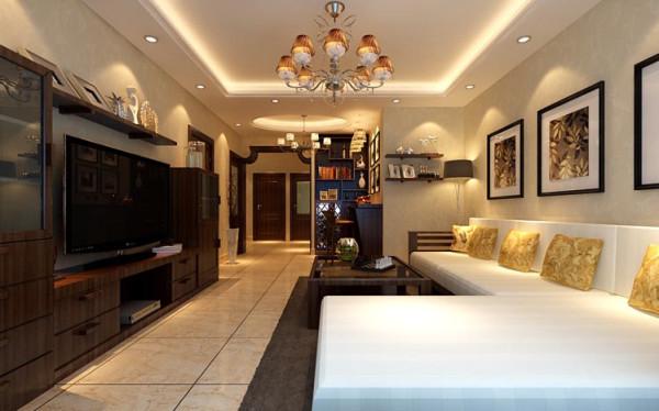 设计理念:整体家俱增加了整个空间的整体感,电视墙的组合家居既实用又凸显了整个家里的中式氛围。