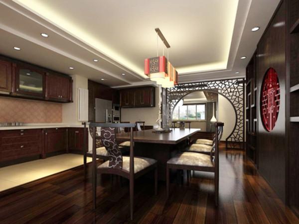 厨房的设计是开放式的设计手法,橱柜的颜色选择的是和地板、家具很接近的颜色,使得厨房和餐厅有着很好的统一性。
