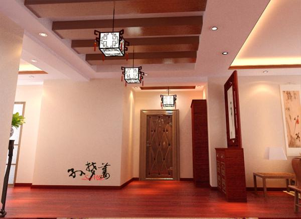 选用红木色炭化木作为门厅及走廊的主要饰材,造型简单却又不失高贵,充分体现了新中式风格的特点,从而拉伸了较窄的空间。