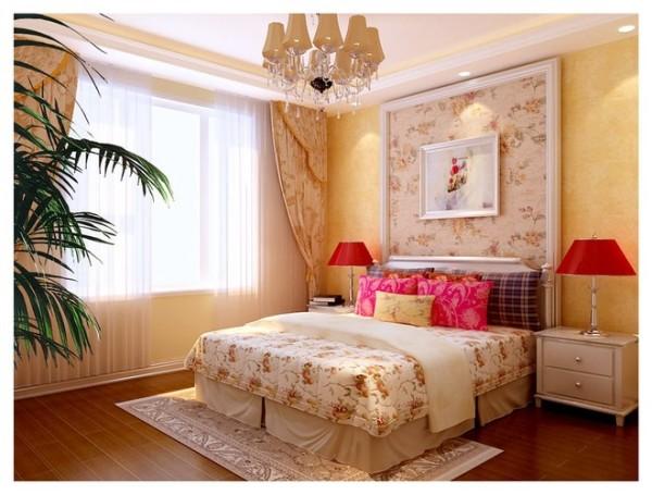 卧室效果图:具备欧式的简单大气,更能够让人在整体中感受到欧式的奢华与大气!
