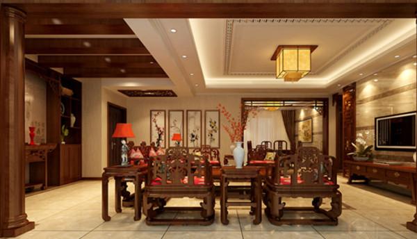 中式的灯具,中式的线条还有中式的古典家具,无处存在着中式的味道。整个室内都是采取了一个偏暖黄的一种色调,再用深色的中式家具,明暗对比明显。