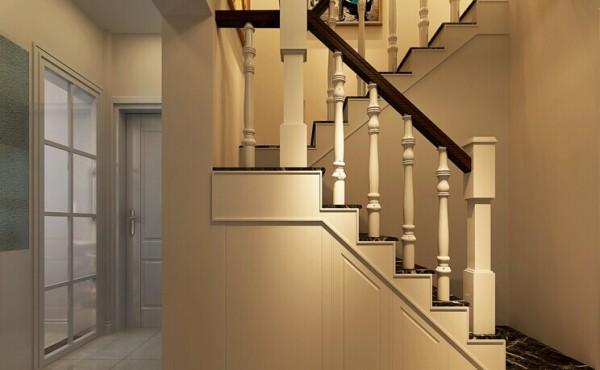 鞋柜隐藏在楼梯的下面