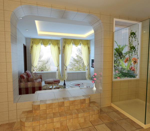 另一亮点:露台的充分利用。根据房屋原结构露台过多等特点,将与主卫相连的露台改造为宽敞舒适的浴池区,令业主在忙碌一天的工作之后有一个身心放松的好去处。