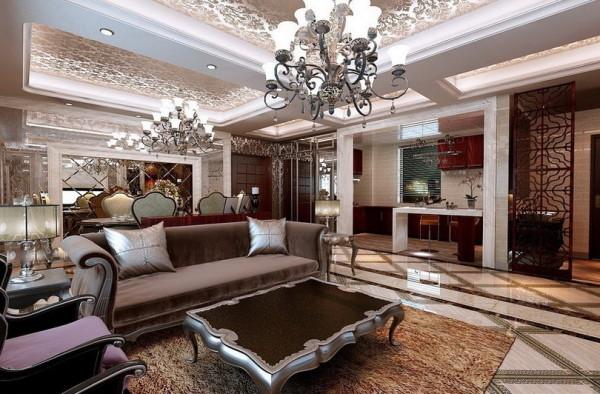 设计理念:浅色墙纸搭配浅木色玻化砖。亮点:紫色的缎面沙发配上柔软的咖色地毯。