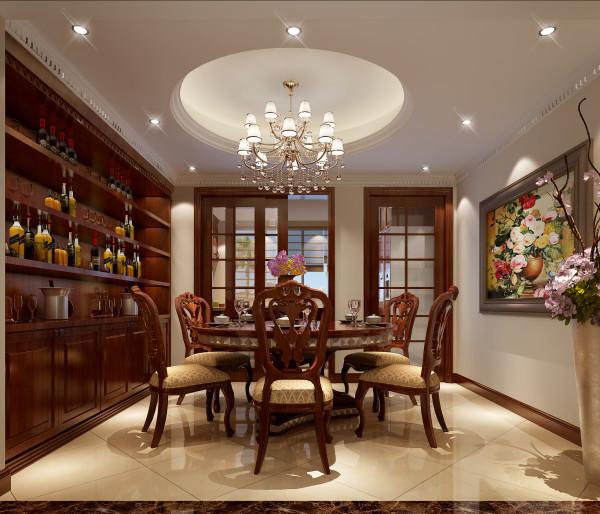 设计理念:整个餐厅的空间设计运用圆形吊顶是英式新古典的手法墙角运用了典型的法式新古典,檐口地面运用了英式新古典。