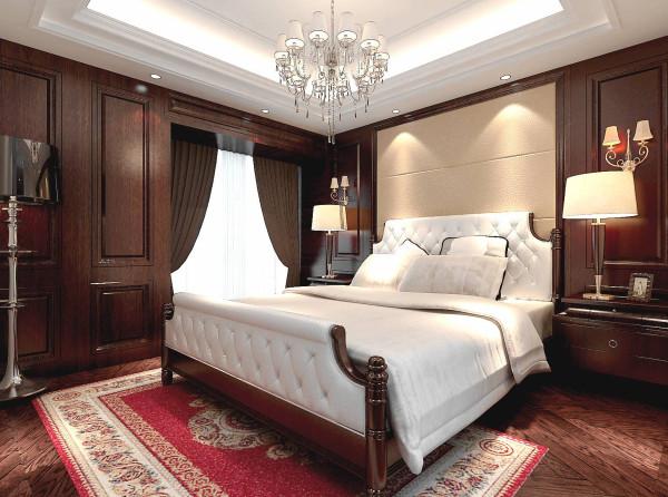 设计理念:护墙板及古典家具的运用。亮点:白色的床品让深色的古典家具中增添了一抹亮色。
