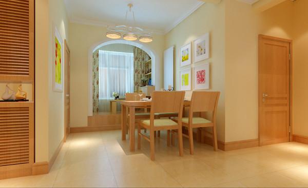 设计理念:餐厅的墙面使用米色的墙漆加装饰画,即增加美感,又方便清洁。优美的线条、精致的家具、纯粹的色彩,展现宁静与典雅;营建稳重氛围。